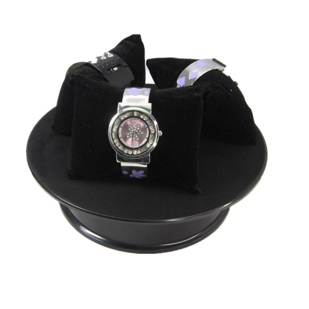3Pcs 20CM Black Velvet Top Electric Motorized Rotating Display Turntable  For Jewelry Toys, Watches Mobile Phone Display