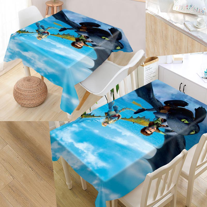 New Arrival Custom How To Train Your Dragon Table Cloth Waterproof Oxford Fabric Rectangular Tablecloth Home Party Tablecloth