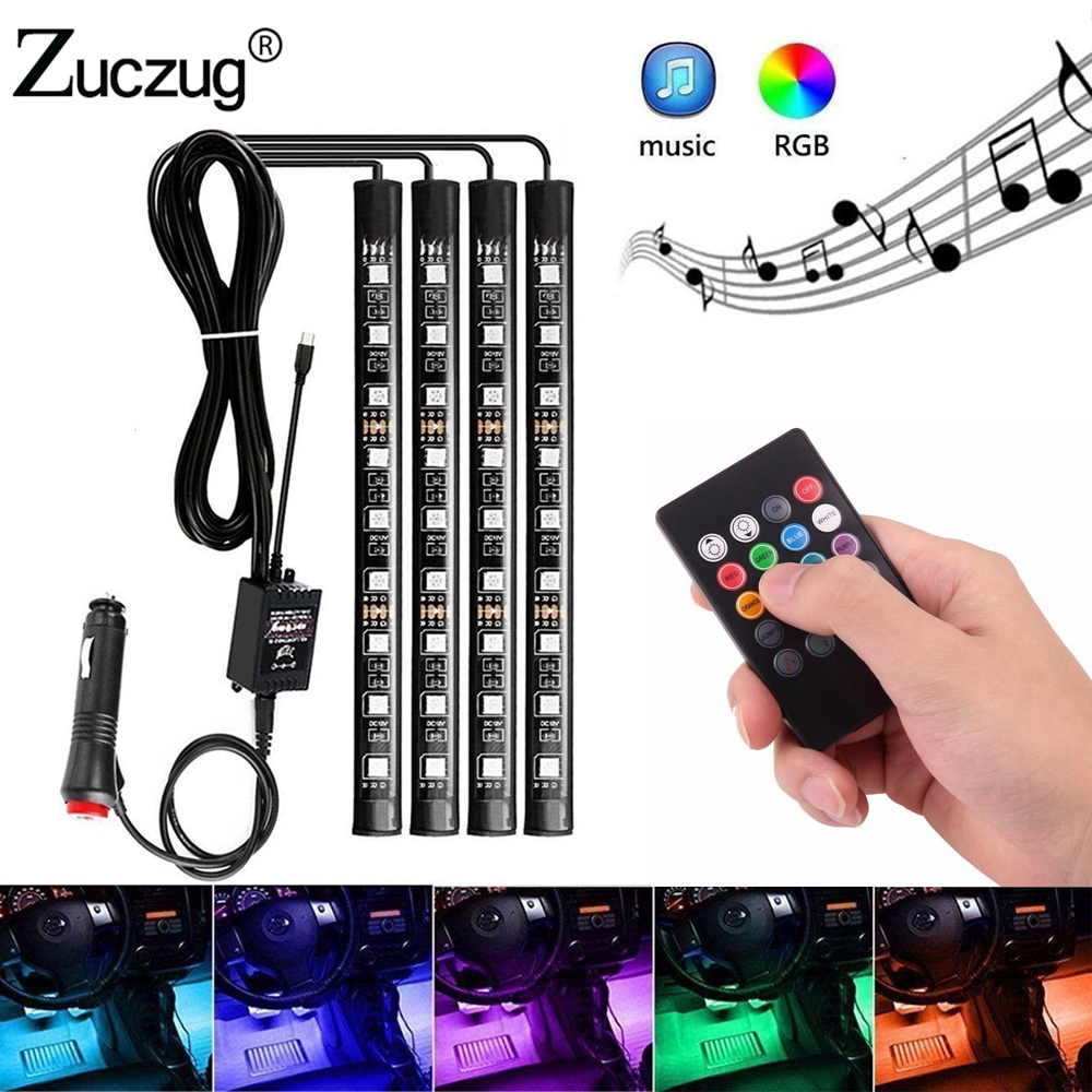 4pcs 12V Car interior RGB LED Strip tape DRL 12 v Light Music Remote Control Auto Decorative Flexible Kit Fog Lamp neon cord new 1 set colorful rgb led car interior neon el wire strip light auto dashboard decorative lamp sound active app control