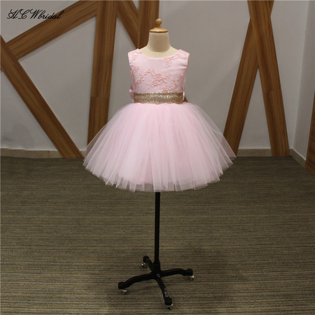 6fae7ea9cad Lovely Pink Short Flower Girl Dresses With Big Gold Bow Sleeveless Knee  Length Lace Tulle High Quality Puffy Junior Party Dress