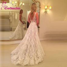 Кружевное свадебное платье в стиле бохо невесты А силуэта пляжное