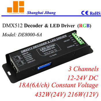 Darmowa wysyłka DMX kontroler, DMX RGB kierowcy, DMX512 kierowcy, 3 kanałów/12 V-24 V DC/18A/432 W DE8000-6A