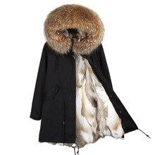 真央真央香港ファッション女性のリアルウサギの毛皮裏地冬ジャケットコートナチュラルフォックス毛皮の襟フード付きロングパーカー生き抜くdhl 5 7