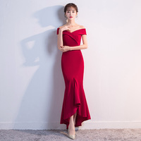 New elegant style shoulder smart dress bridesmaid dress 2019 Formal Wedding Party Prom Dresses robe de soiree vestido de noiva