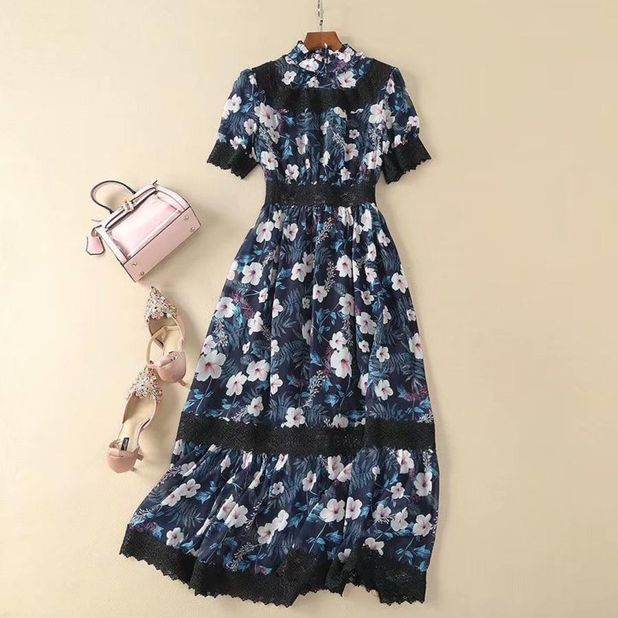 Kadın Giyim'ten Elbiseler'de VERDEJULIAY Boho Pist Elbise 2019 Yaz Yeni Moda Dantel Patchwork Çiçek Baskı Ruffles Orta Buzağı Lüks Elbise Kadın'da  Grup 1