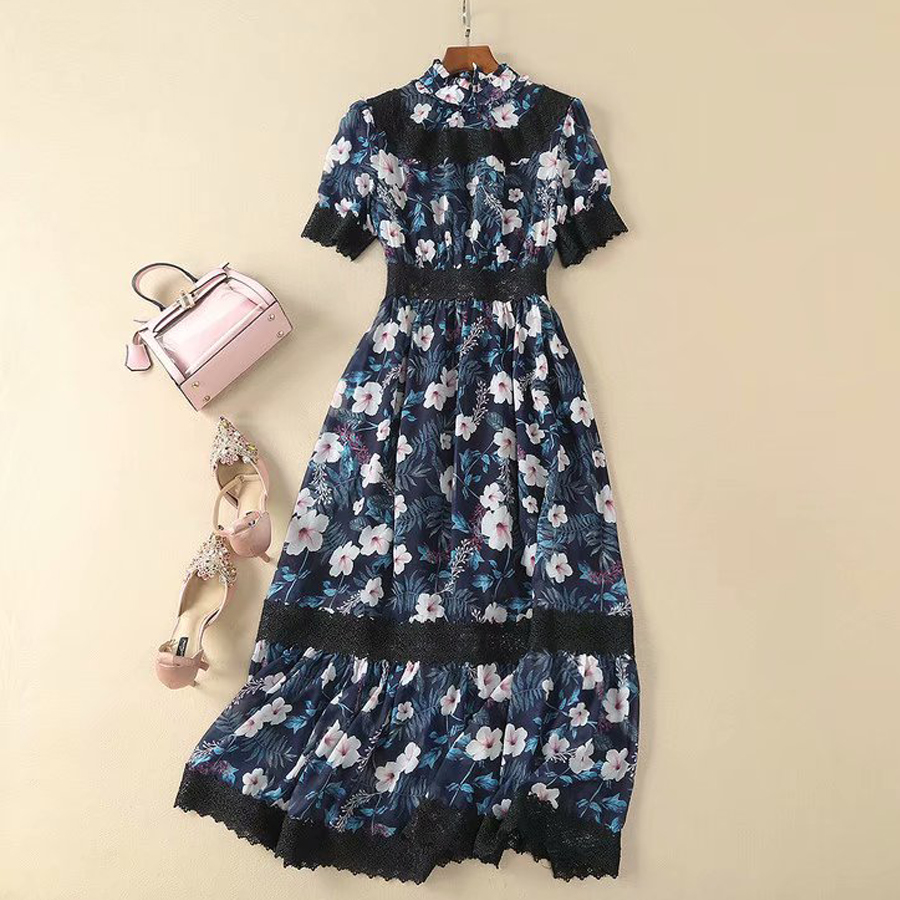 Verdejuliay boho 활주로 드레스 2019 여름 새로운 패션 레이스 패치 워크 꽃 인쇄 주름 중순 송아지 럭셔리 드레스 여성-에서드레스부터 여성 의류 의  그룹 1