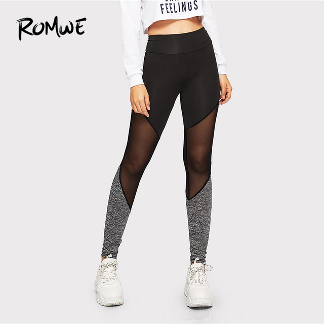 f5457f9666 Romwe Sport Blakc Sheer Mesh Patchwork Yoga Pants Women 2019 Spring Summer  Elastic Long Tights Workout Fitness Yoga Leggings