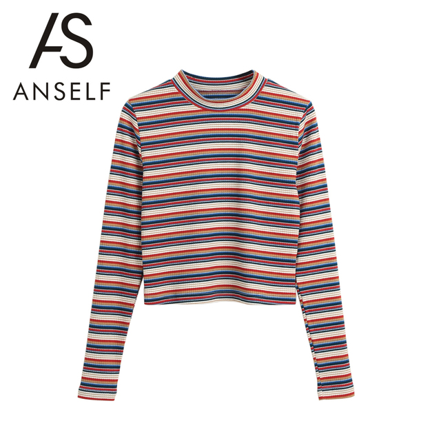 6c966e0812 2019 Autumn Women Cropped Striped Pullover Sweaters Ribbed Knitted Long  Sleeves Sheath Stretchy Jumpers Crop Knitting