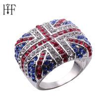 Luxury Jewelry Punk Rings American Flag Ring For Man Personality Biker Jewelry Wholesale Full of Crystal Colorful anel masculino