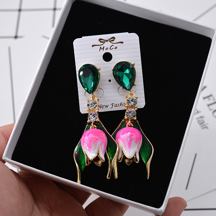 New European and American DG Baroque Tulips Large Earrings Fashion Exaggerated Flowers Water Drop Paint Earrings