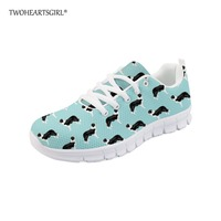 Twoheartsgirl Floral Border Collie Print Vulcanize Shoes Casual Mesh Sneakers for Women Breathable Female Flats Plus Size