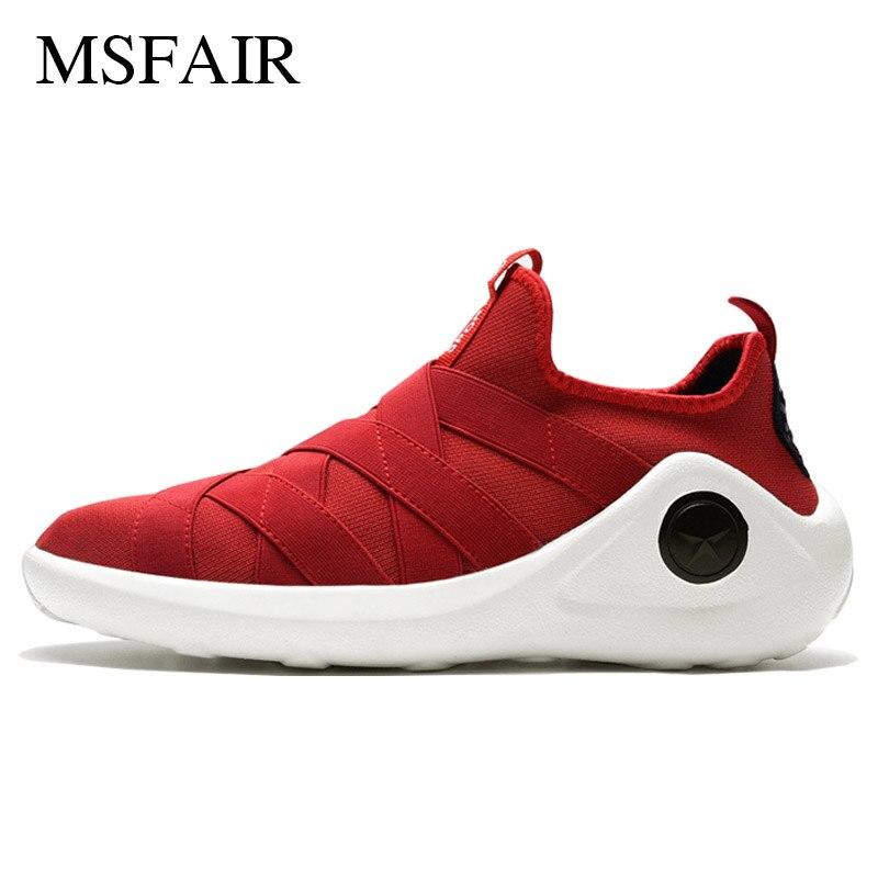 Msfair Men Running Shoes Outdoor Jogging Sport Shoes For Men Summer Breathable Mesh Shock absorption Men Sneakers Super Light