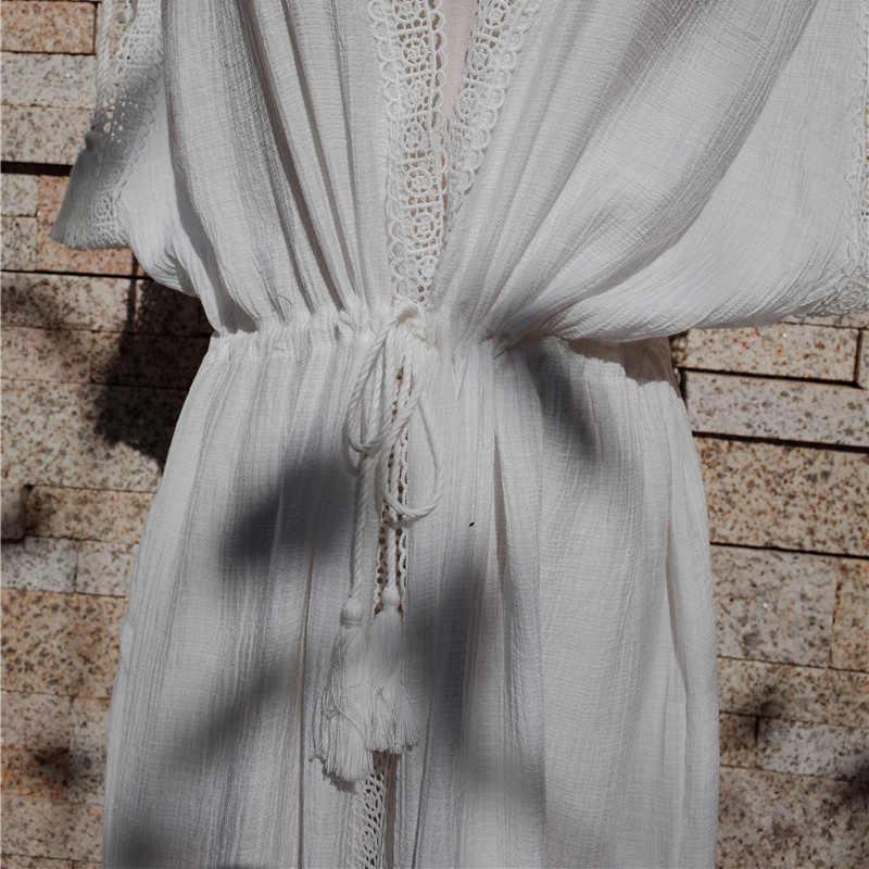 ... Elegant Greece Style White Cotton Tunic Beach Dress Women Summer Sexy  Plunging Neck Sleeveless Side Split ... 8746786b98ee