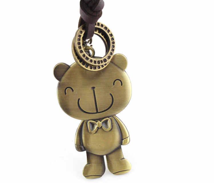 빈티지 목걸이 레트로 귀여운 사랑 곰 펜던트 애니메이션 크로스 매력 긴 가죽 체인 스웨터 쥬얼리 남자 여자 여자 소년 아이
