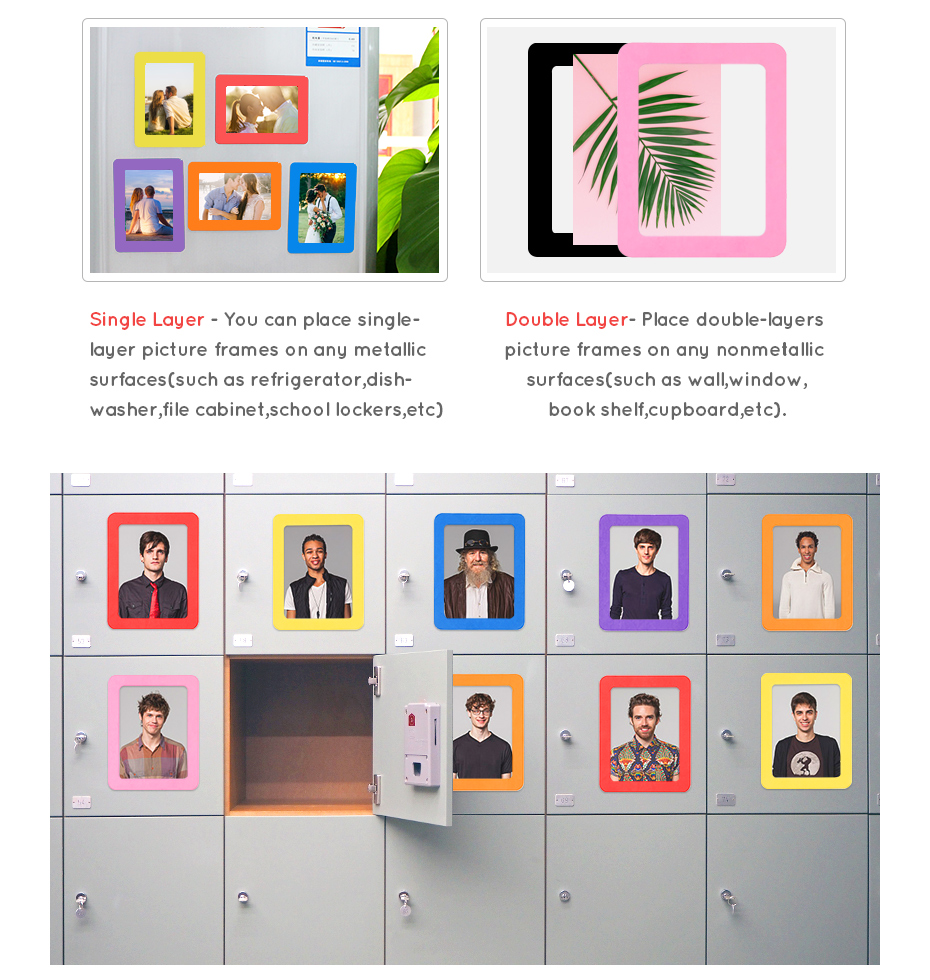930_11 Colorful Magnetic Picture Frames Photo Fridge Magnets Photo frame Refrigerator Magnetic Photo Frames Wall Decor with EVA Surface
