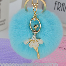 2016 Fashion Women Cony Hair Dancing Angel Rhinestone Ball Pom Pom Charm Car Keychain Handbag Key Ring Pendant
