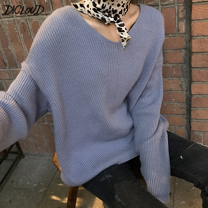 DICLOUD V Neck Pullovers Women Oversized Sweaters Ladies Winter Warm Tops Woolen Pullovers Female Plus Size Clothes Harajuku