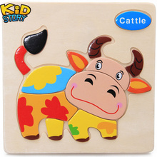 1Pcs Cartoon Wooden Animal and Transportation 3d Puzzle Jigsaw Wooden Toys For Intelligence Kids Baby Early Educational Toy цены