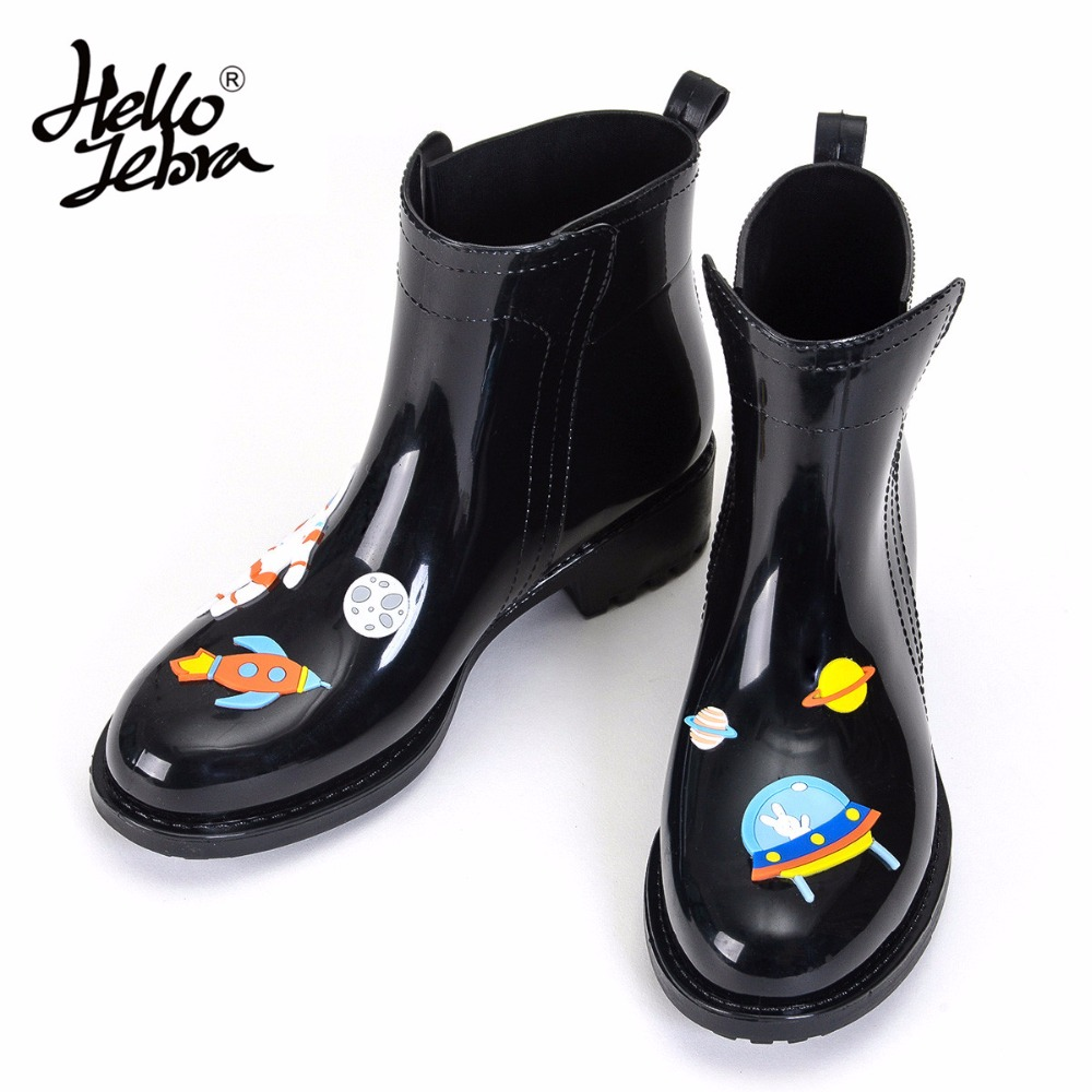 Hellozebra New Arrival PVC Ankle Rain Boots Women Female Waterproof Cute Black Fiah & Cat Rainboots Wellies Water Shoes free drop shipping new vogue adult women fashion rainboots pvc rain shoes buckle water rubber boots wellies bargin price black
