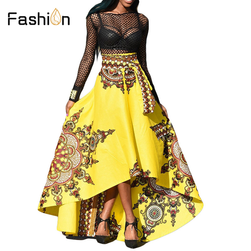 2017 Women Maxi Beach Skirt Floral Print High Waist Pleated Floor Length African Autumn Winter Summer Long Skirt Plus Size ...