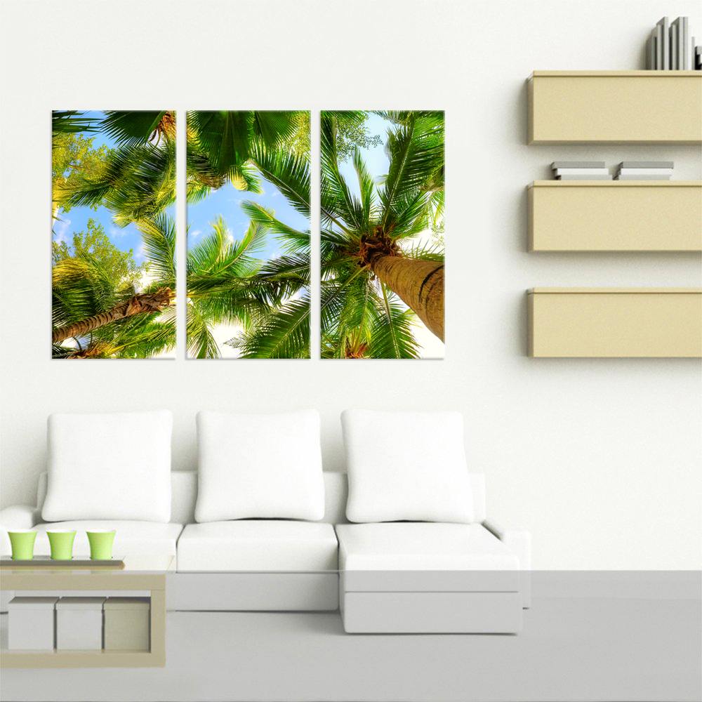 3 Panel Contemporary Painting Wall Art on Canvas Coconut Palm Tree ...