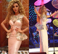 Vestidos Arabia Saudita Mangas de Raso Ruffles Cristales Con Cuentas Desfile Vestido Myriam Vestido de Celeridad de Conciertos