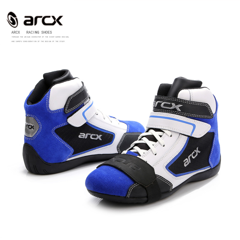 Motorcycle Cow Leather Boots biker Biker boot Cruiser Touring shoe Ankle Locomotive Shoes Riding Street blue