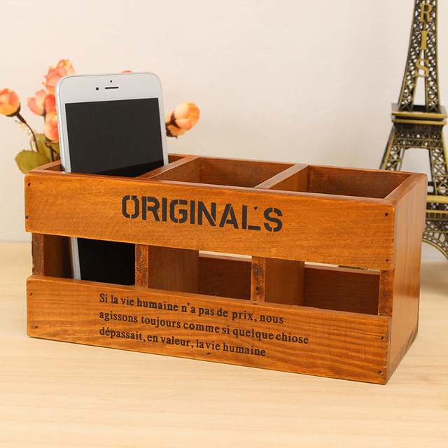 3 Girds Wooden Organizer Pen/Pencil Storage Box Organizer Sundries Tool  Storage Holder Container Handmade