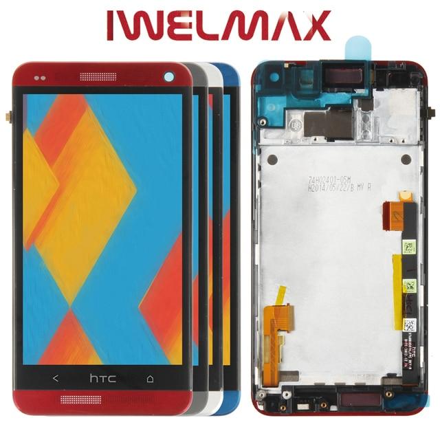 Испытано 4,7 ''Дисплей htc один M7 ЖК-дисплей Сенсорный экран с рамкой htc один M7 Дисплей планшета Ассамблеи 801e 802D 802D 802 Вт