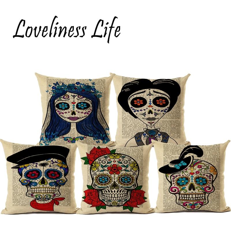 Pillowcase Halloween Skull Cushion Cover Cotton Linen Retro Book Page Printed Throw Pillows Decorative Cojines Housse De Coussin