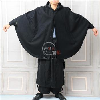 Customize Style New 2018 Men's Loose Personality Cape Cloak Long Woolen Coat  Hair Stylist Thick Coat Nightclub Singers Costumes