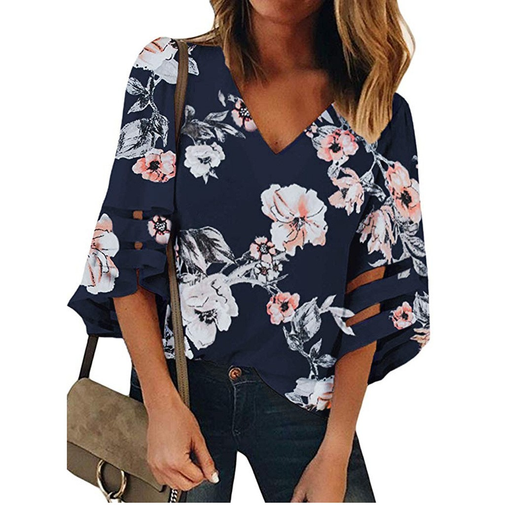 Women Shirts Mesh-Panel Floral Large V-Neck 3/4-Bell-Sleeve Loose Casual