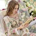 Nueva primavera de alta calidad de estilo Pastoral Establece Pijama de Manga Larga Pijama de Algodón de las mujeres ropa de Noche de otoño, pijama feminino