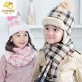 Outono inverno, meninos e girlsof a malha tampão do lenço de lã e caxemira cachecol dois conjuntos