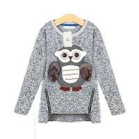 Cô gái Lông Cừu Lót Dây Kéo áo len Phim Hoạt Hình Dễ Thương Owl Bông Giản Dị Cô Gái Mùa Đông quần áo cô gái áo len cho 6 7 8 9 10 12 14 năm