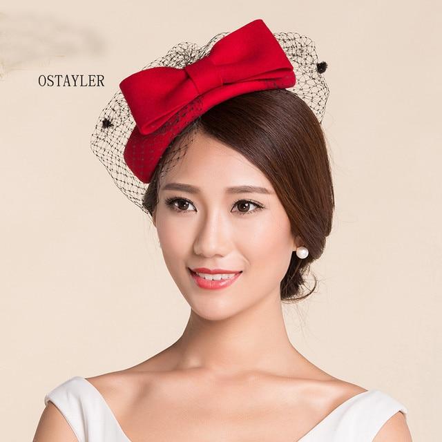 fefcf65ab062aa High End Elegant Ladies Cocktail Headwear Australian Wool Felt Dot Face  VEil Fedora Hat Red Pink Wool Pillbox Wedding Beret Hat