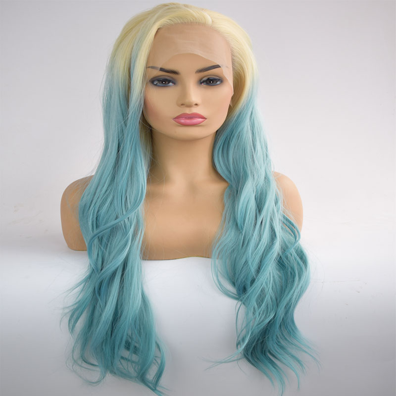 Bombshell Blonde Roots Ombre Sky Blue Synthetic Lace Front Wig Natural Wave Heat Resistant Fiber Hair