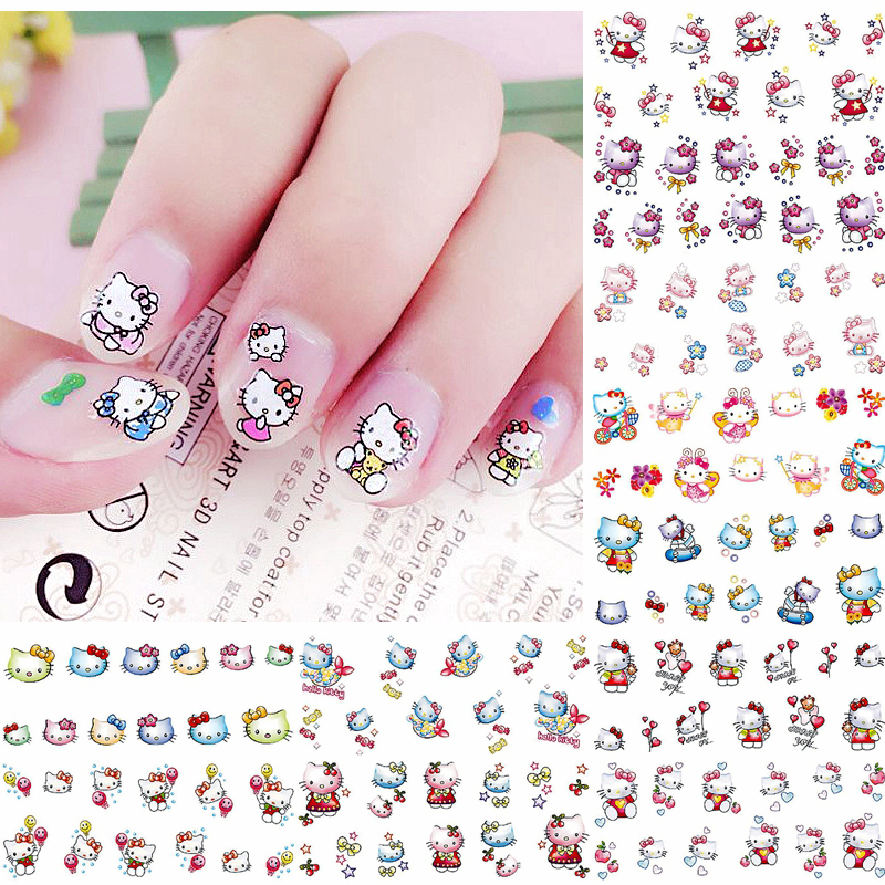 Nails Sticker Decorations Manicure-Tools Transfer-Foil Water-Decals 12-Sheets Cartoon