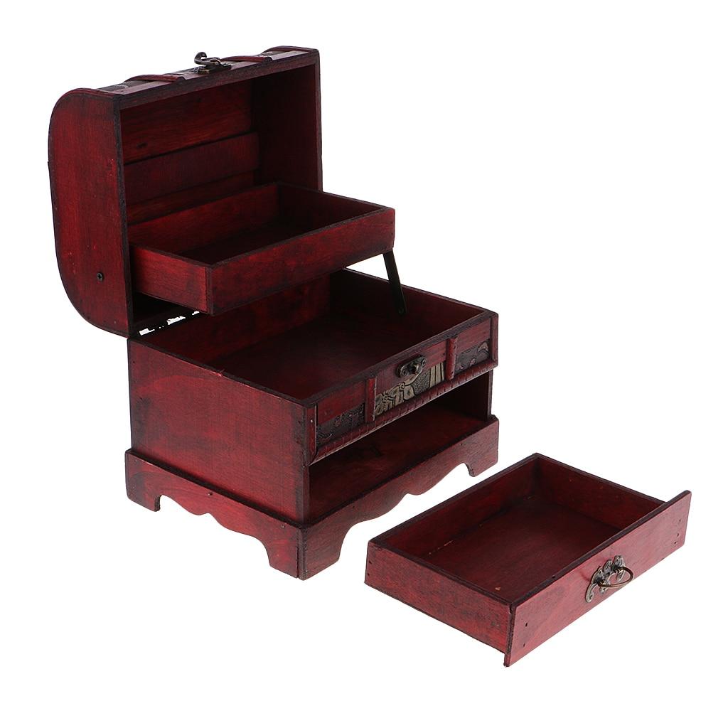 22x16cm Vintage Metal Lock Jewelry Box W/ Flower Design Wooden Storage Case Necklace Storage Box Table Decor