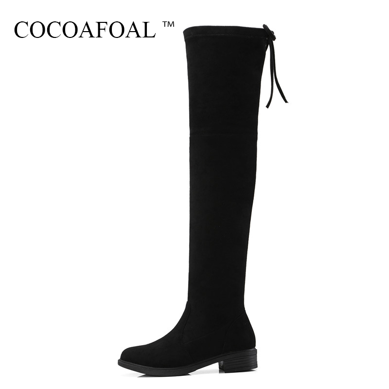 COCOAFOAL Woman Winter Chelsea Over The Knee Boots Genuine Leather Thigh High Boots Plus Size 33 Fashion Black Flat With Shoes