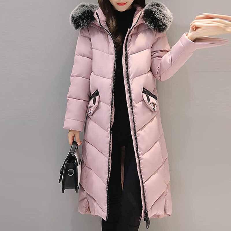 Frauen Warme Dicken langen Mantel Winter Weibliche Parkas Schlank Mit Kapuze Langen Mantel Pelz Kragen Zip Up Tasche Casual mädchen Outwear plus größe
