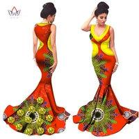 Donne Abbigliamento Africano Stampa Summer Dress Donne Senza Maniche Sexy Vestito Da Sera Del Partito Lungo Joint Fiori Fatti A Mano WY1398