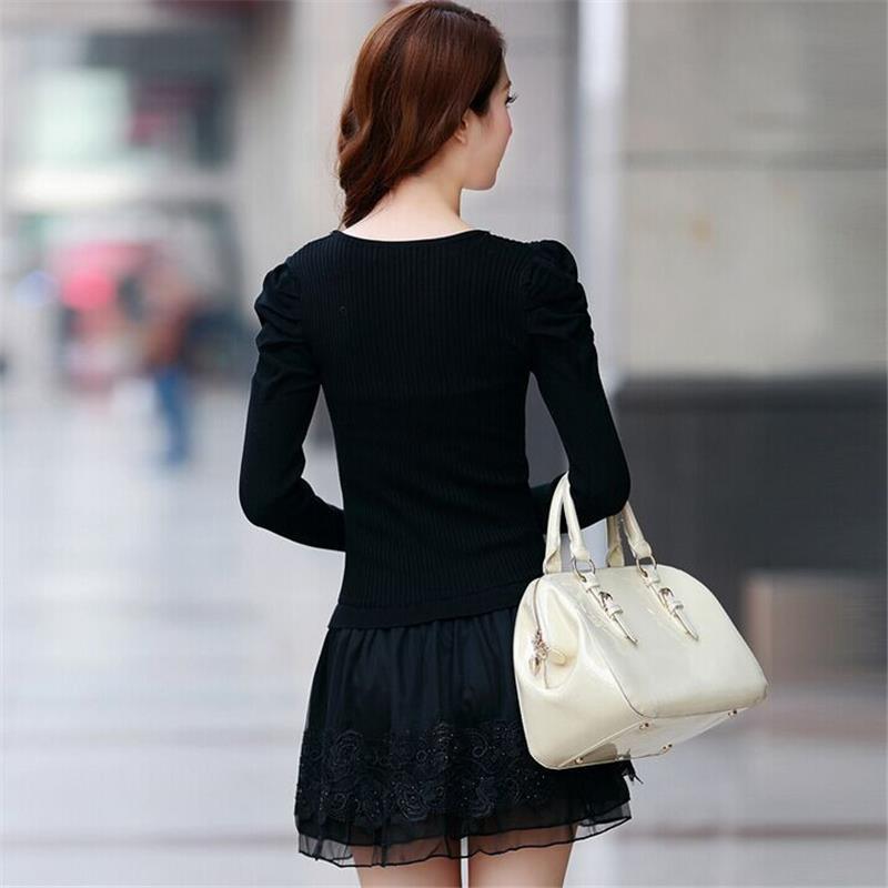 Model Invierno Midi Robe Sukienka Coréenne Verano model B Elbise Tricot 2018 Boho Casual À A Automne Dentelle Longues Dresse Floral Manches Femmes wvqfAUn