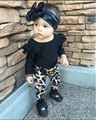 Fashion 2017 baby girl clothes cotton long-sleeved black t-shirt+leopard pants infant 2/pcs newborn baby girls clothing set