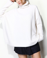 high grade goat cashmere thick knit women fashion pullover sweater wide loose high collar white 4color one size EU/S L