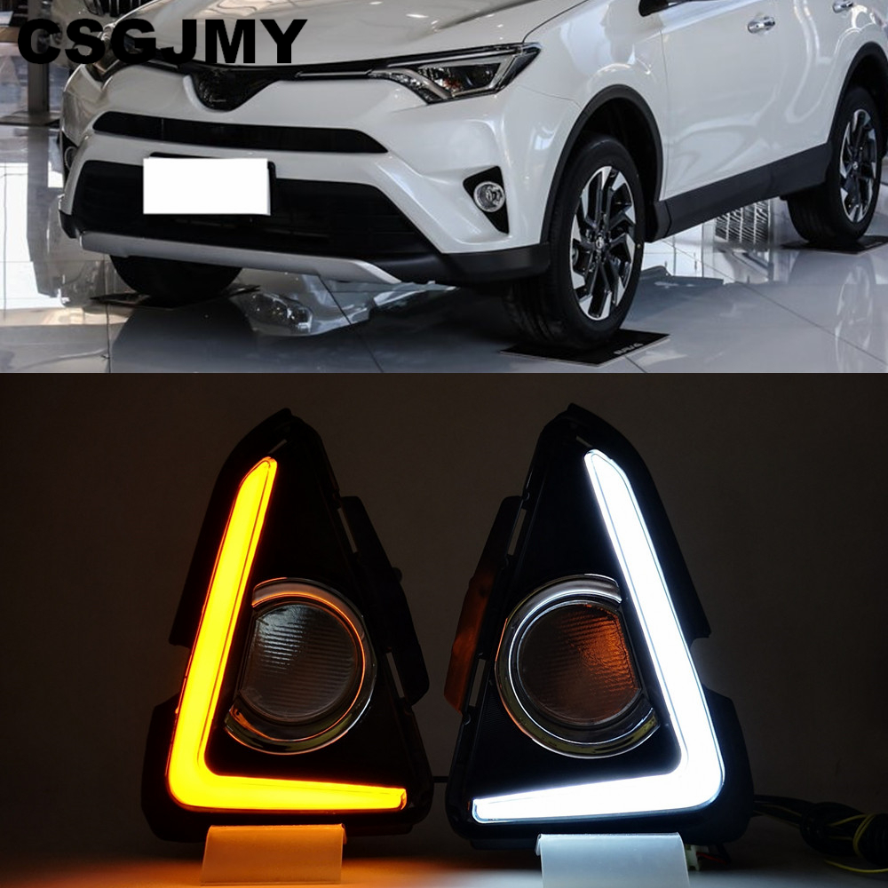 DRL FOR 2016-2018 TOYOTA RAV4 LED DAYTIME RUNNING LIGHT FOG LAMP W// TURN SIGNAL