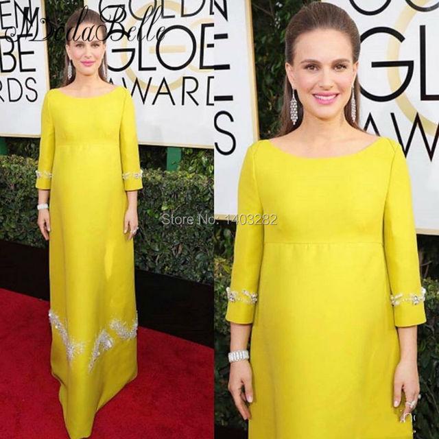 74ª Natalie Portman Golden Globe Awards Red Carpet Vestidos Largos de Maternidad Las Mujeres Embarazadas Vestidos Formales 2017 Bata Celebrity