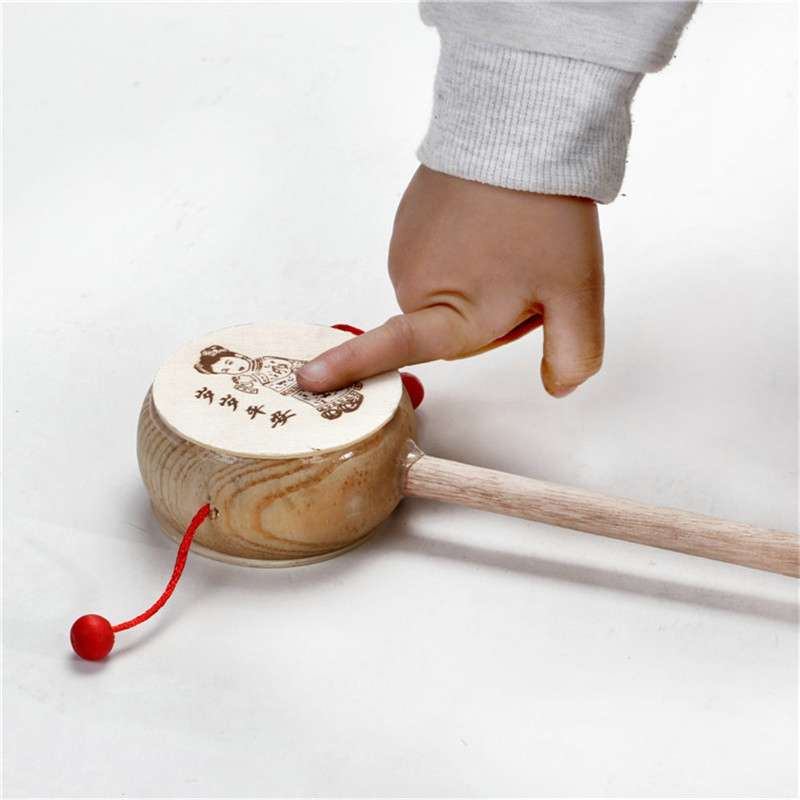 Children's Toys Rattan Wooden Hand Bells Baby Early Education Puzzle Cheering Stick < 3 Years Old