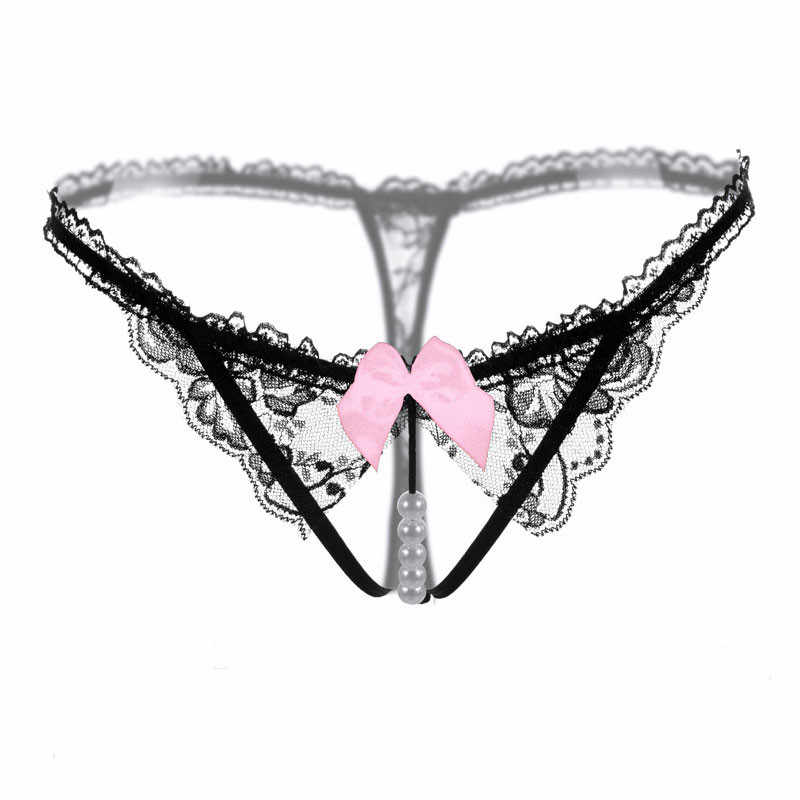 c14021902794 High Quality Sexy Underwear Women Thong Bow Lace Crotchless Intimates Sexy  Panties Briefs With Pearl Beads
