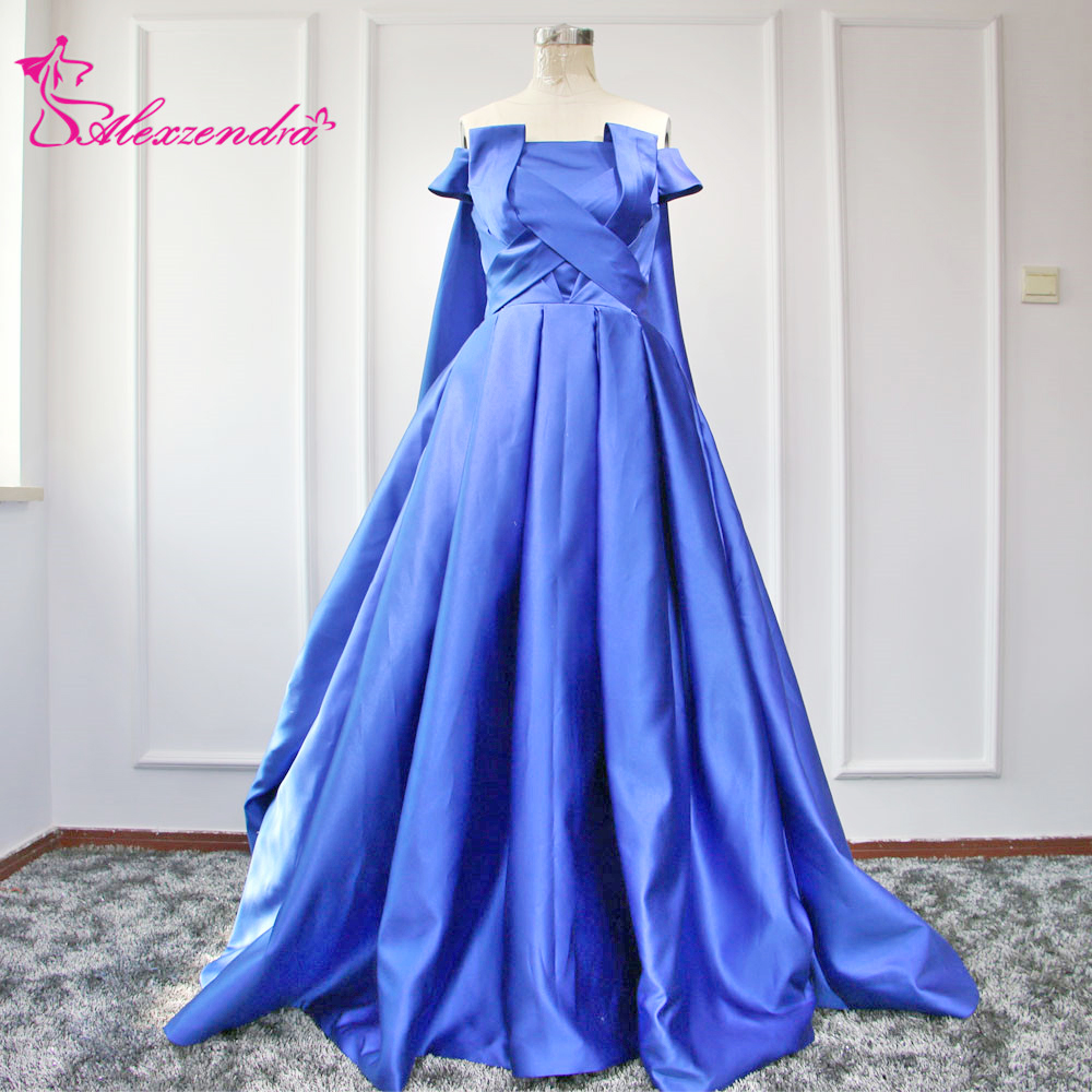 Alexzendra Royal Blue New Ball Gown Prom Dresses with Shawl Unique ...